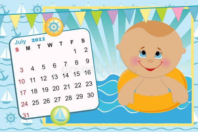 2011 kalendarzowy dziecko miesięcznik s ilustracja wektor