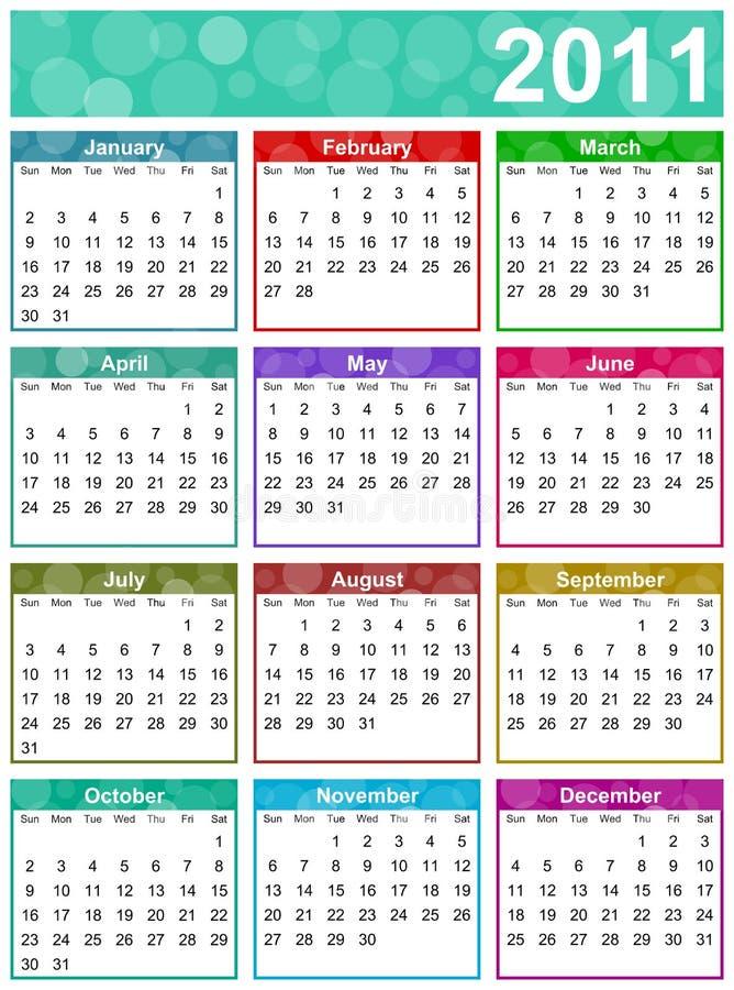 2011 kalendarzowy kolorowy śmieszny royalty ilustracja