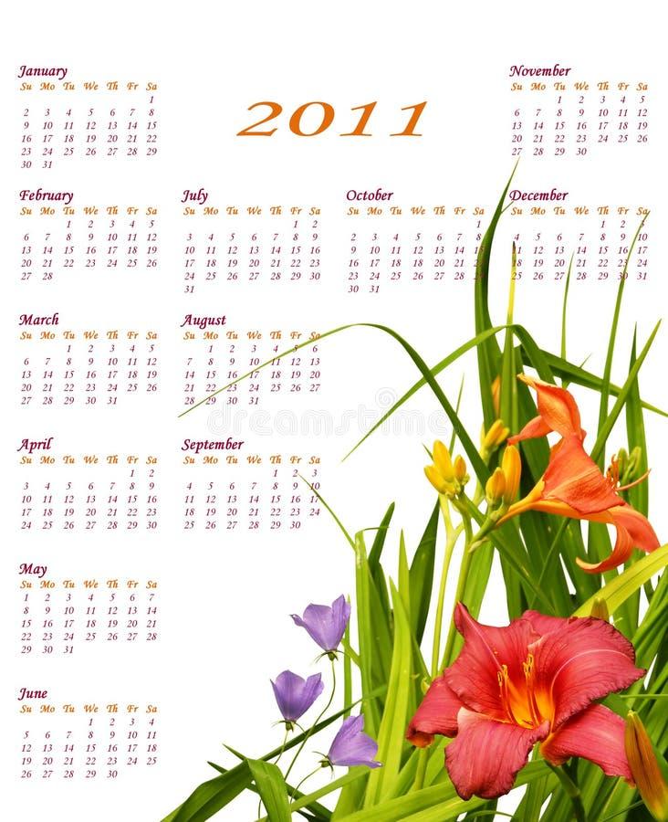 2011 kalendarzowy kwiecisty ilustracji