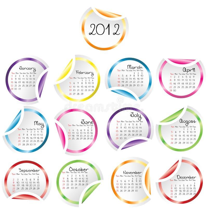 2011 Kalender met gekrulde stickershoeken vector illustratie