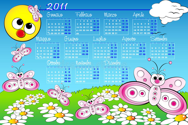 2011 Kid calendar with butterfly - Italian stock illustration
