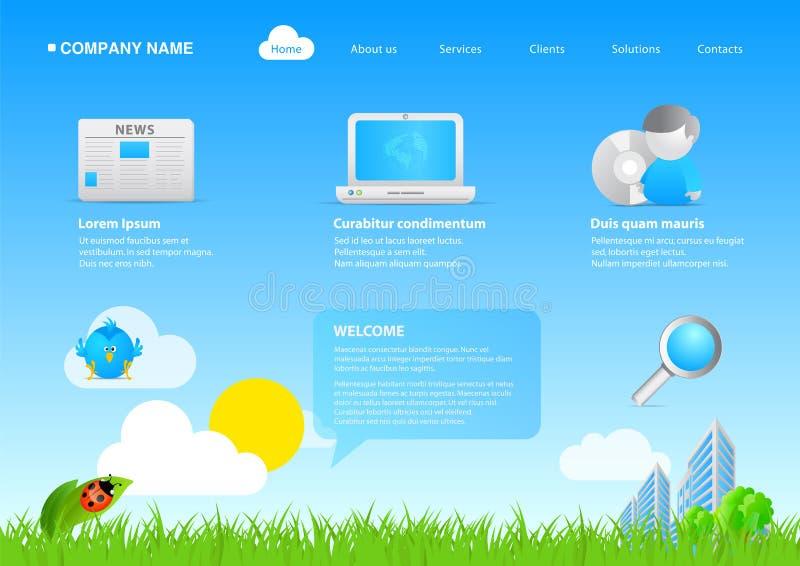 2011 negócios amigáveis/cartoo do eco moderno do Web site ilustração stock