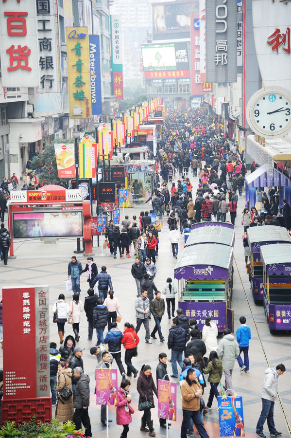 2011 new year shopping in chengdu. 2011 new year shopping, chunxi street,chinese famous business walking street in chengdu royalty free stock photo