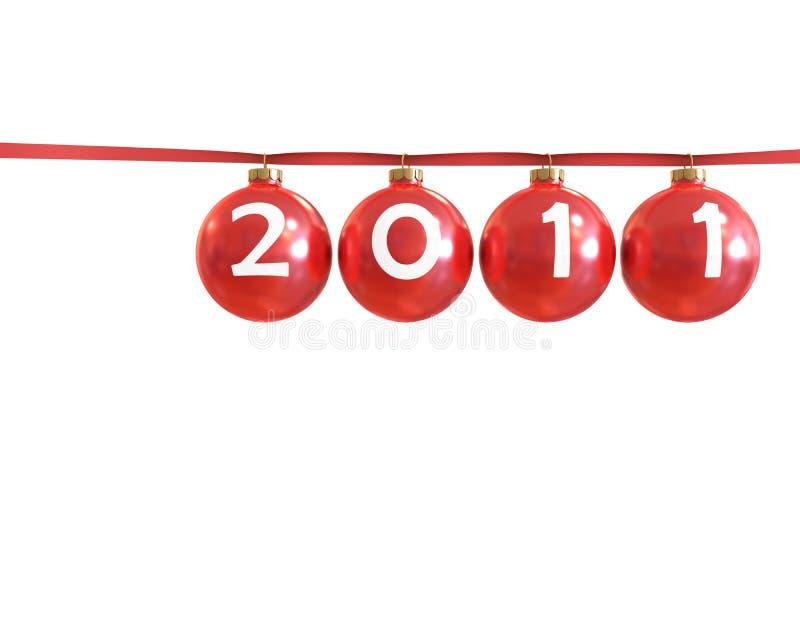 2011 piłek chirstmas klasyczny czerwony błyszczący royalty ilustracja