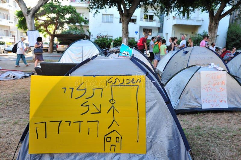 2011 protestos de abrigo em Israel fotografia de stock royalty free