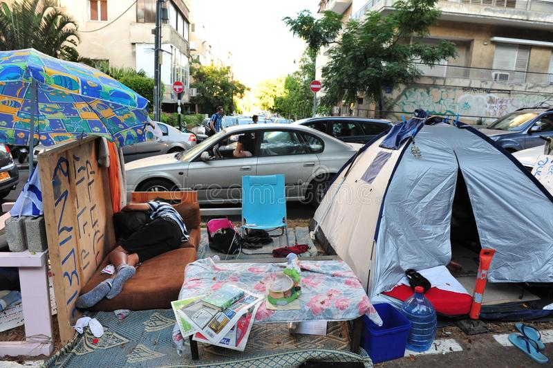2011 protestos de abrigo em Israel fotos de stock