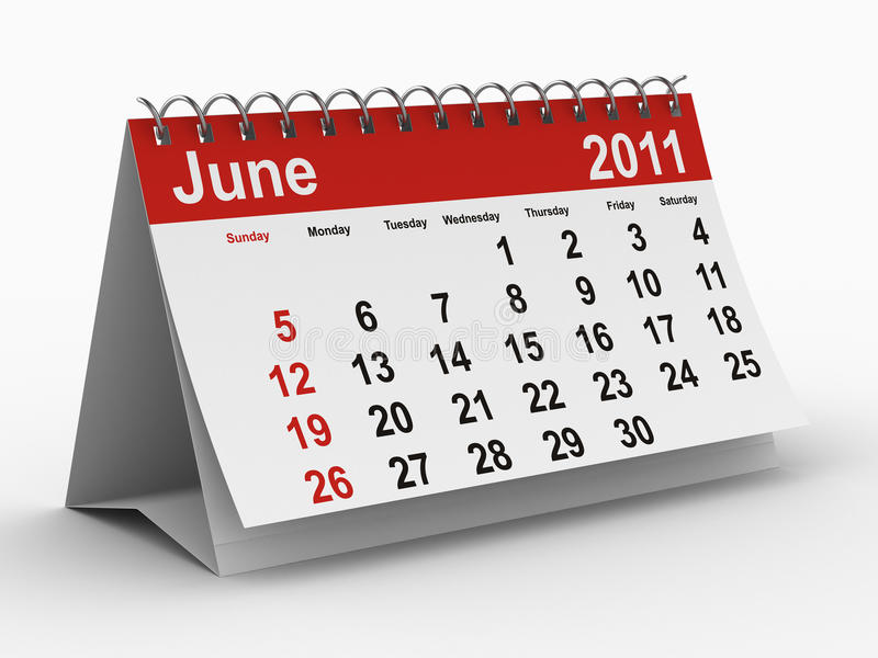 2011 year calendar. June royalty free illustration
