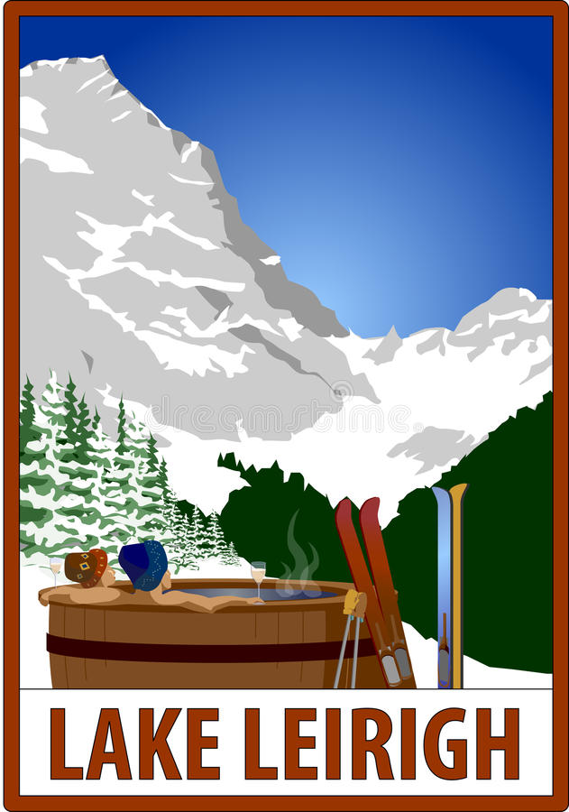 20111006-Ski_poster. Retro ski poster of skiers in a hot tub, with placeholder text royalty free illustration