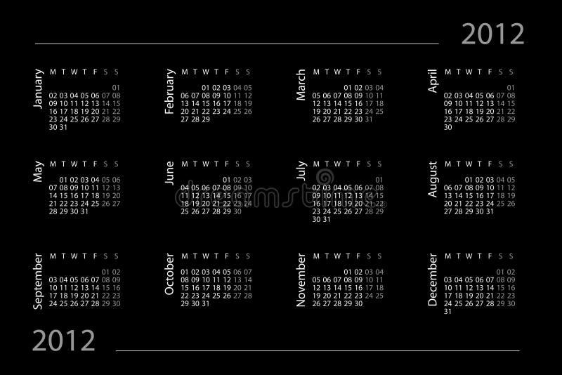 2012个日历年度 向量例证