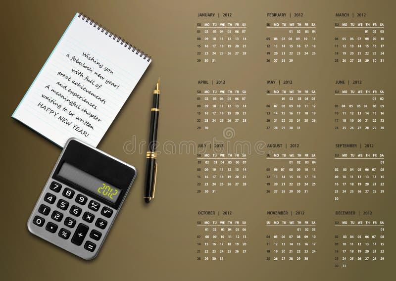 2012个日历新年度 库存例证