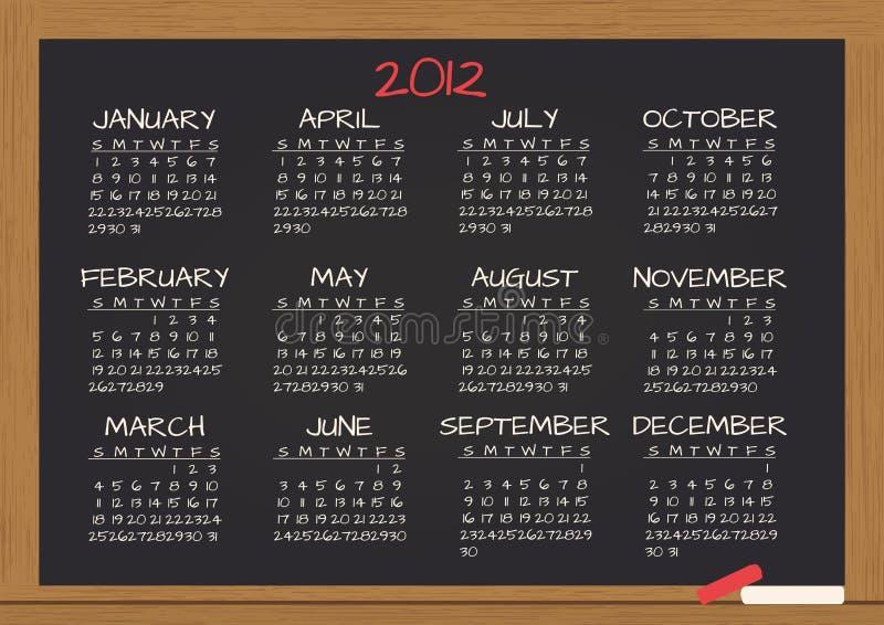 2012个日历黑板 皇族释放例证