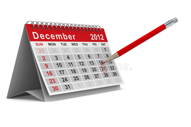 2012个日历12月年 库存例证