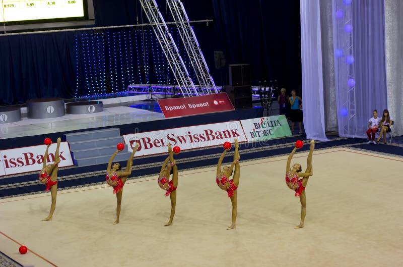 2012个杯子体操节奏性世界 库存图片
