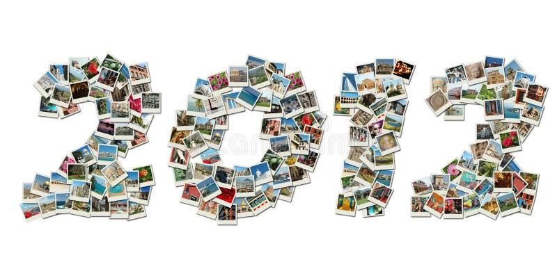 2012个看板卡拼贴画做pf照片旅行 皇族释放例证