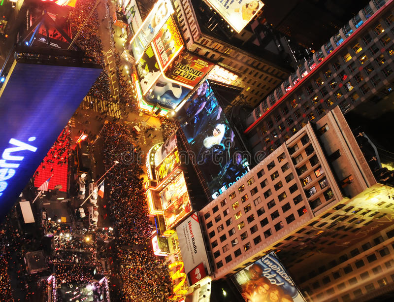 2012前夕新的nyc正方形计时几年 库存照片