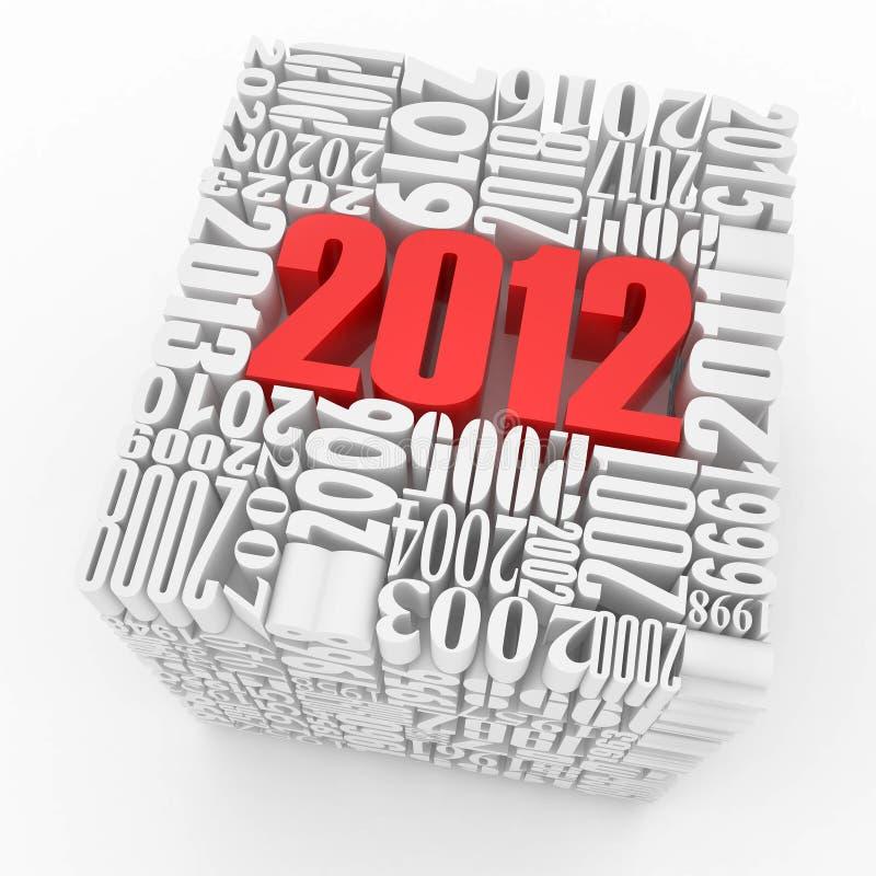 2012年包括的多维数据集新的编号年 库存例证