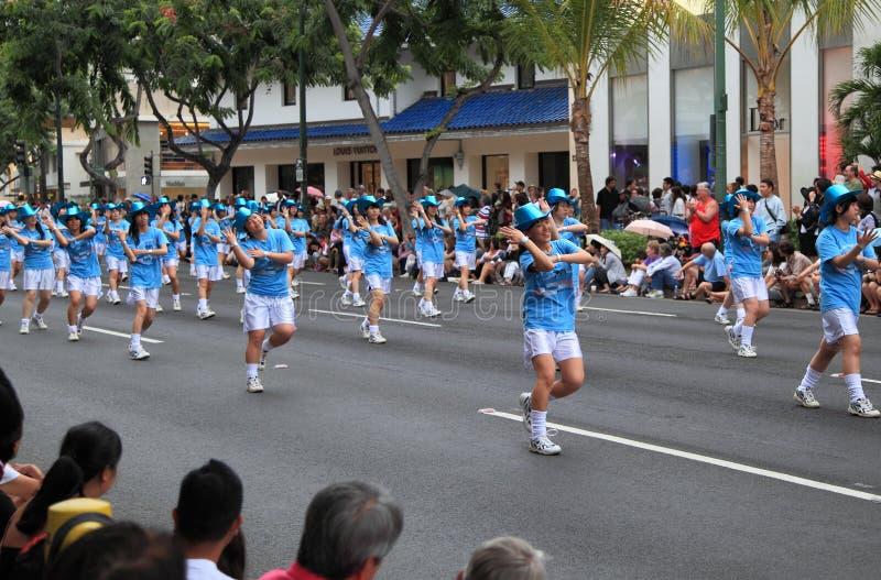 2012年檀香山节日游行的舞蹈演员 库存照片