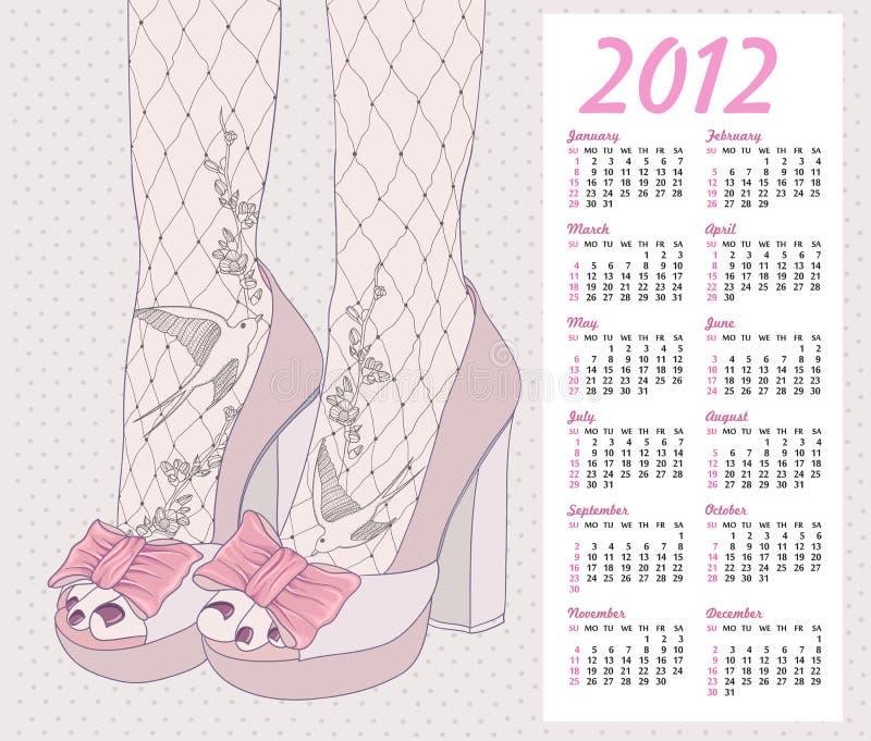 2012年背景日历方式鞋子 皇族释放例证