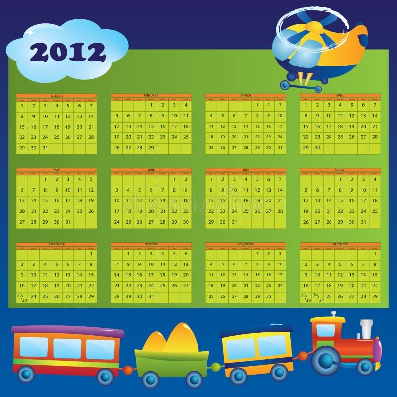 2012日历儿童年 向量例证