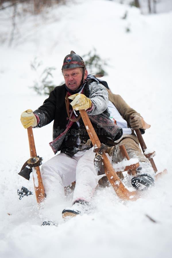 2012有角的种族爬犁斯洛伐克turecka 库存图片