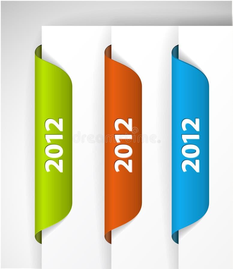 2012 étiquettes/collants illustration libre de droits
