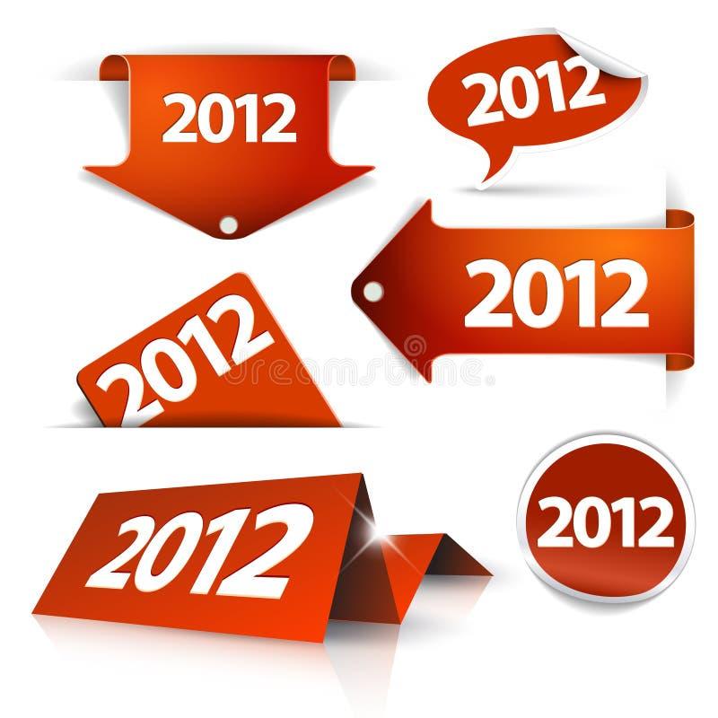 2012 étiquettes, collants, flèches indicatrices, étiquettes illustration stock