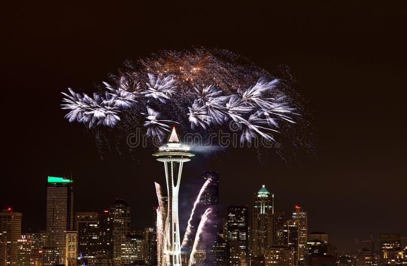 2012 πυροτεχνήματα Σιάτλ παρουσίασης στοκ εικόνα με δικαίωμα ελεύθερης χρήσης