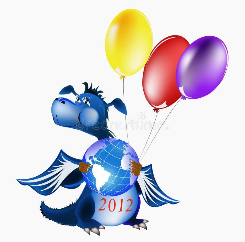 2012 года символа голубых темных дракона новых s иллюстрация штока