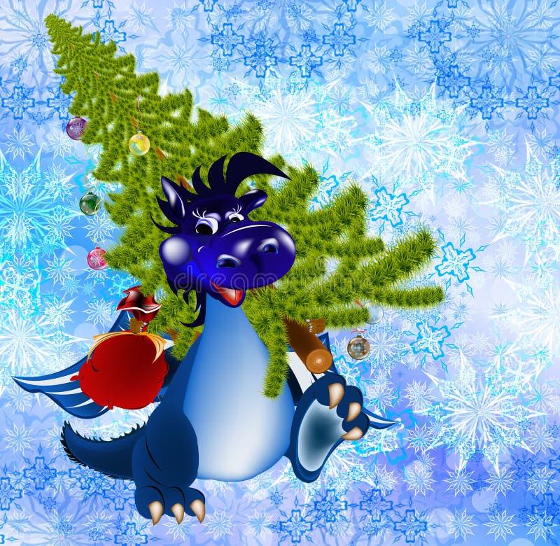 2012 года символа голубых темных дракона новых s иллюстрация вектора