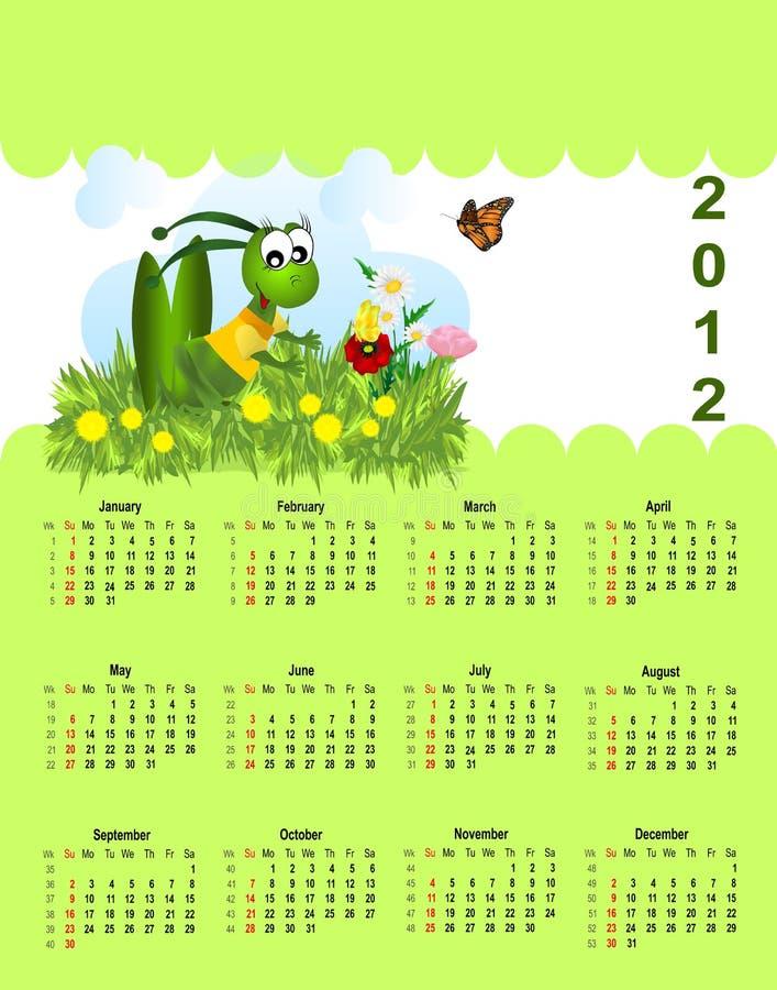 2012 дет календара иллюстрация вектора