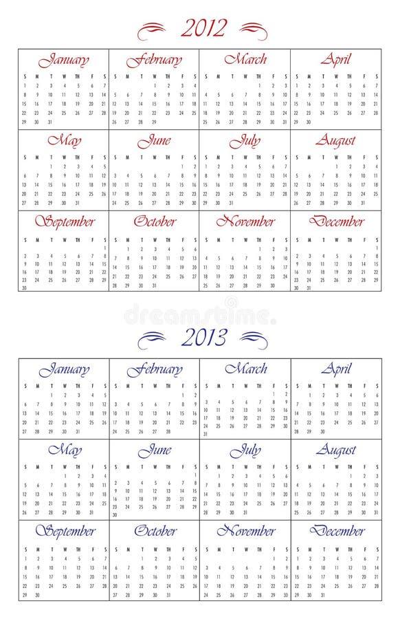 2012 2013 kalendarza ilustracja wektor