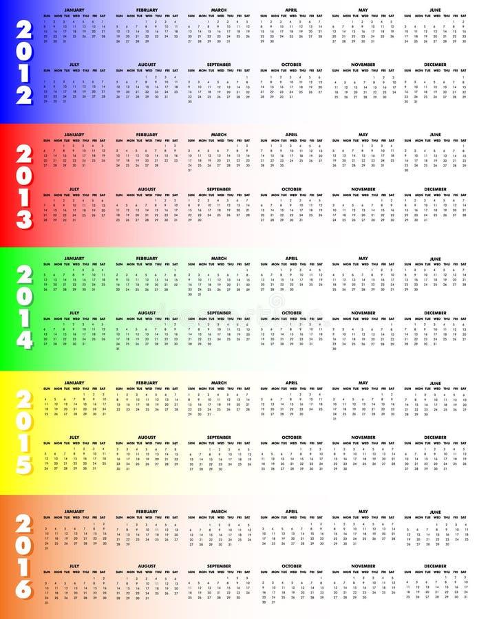 2012 2016日历五启动星期天年 向量例证