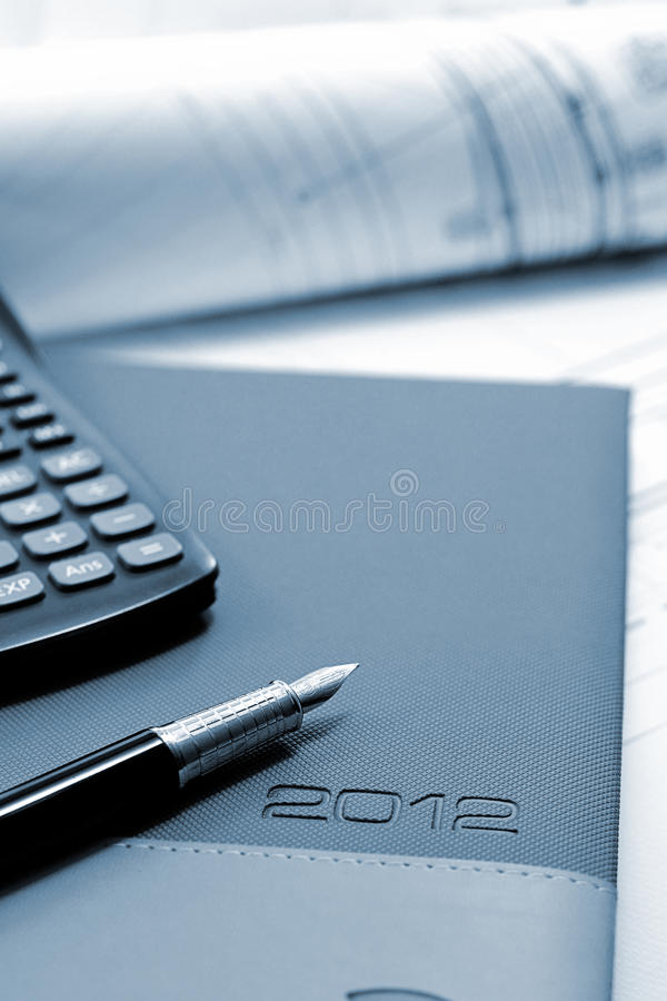 2012 agenda with construction drawings royalty free stock photography