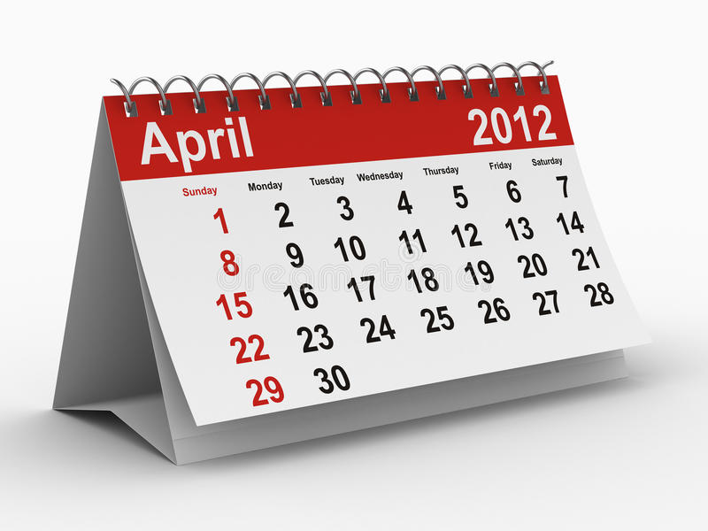 2012 april kalenderår vektor illustrationer