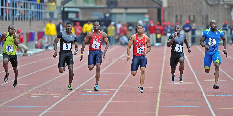 2012 atletismo - traço de 100 medidores imagens de stock royalty free