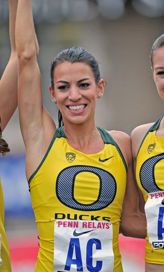 2012 atletismo - vencedor de Oregon imagem de stock