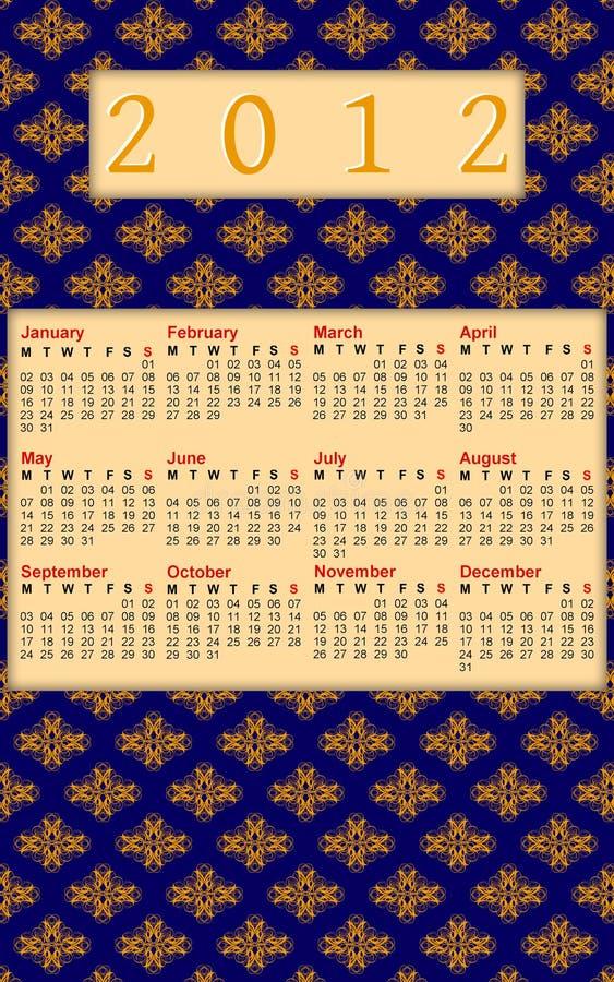 2012 Blue And Orange Damask Calendar Stock Photo