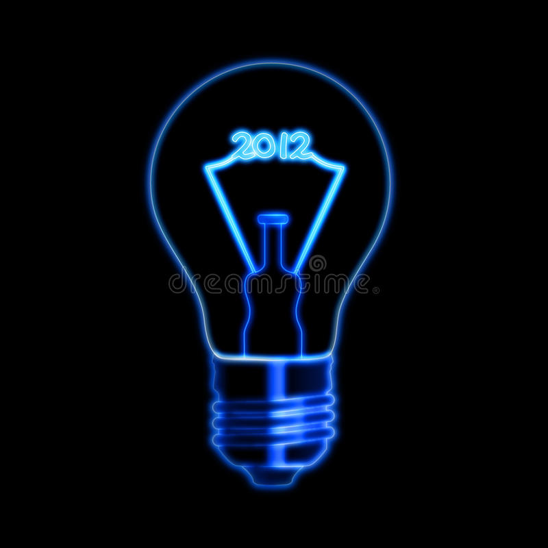 2012 in bulb. Bulb with filament ciphers makes 2012, over black background stock photos
