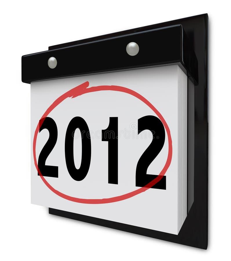 2012 - Calendário de parede que indica a tâmara do ano novo ilustração royalty free