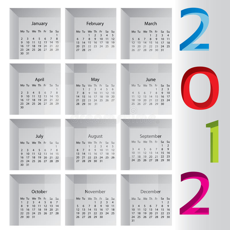 2012 calendar with months inside boxes stock illustration