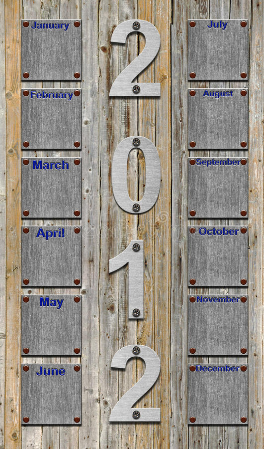 Free 2012 Calendar Over Old Wooden Planks Royalty Free Stock Images - 20996249