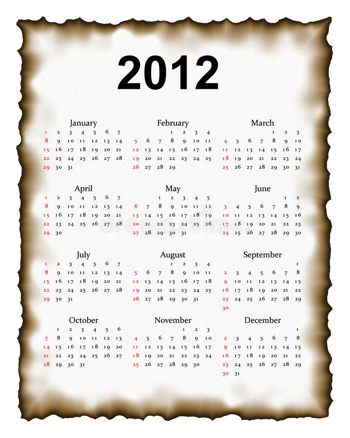 2012 calendar on paper stock images