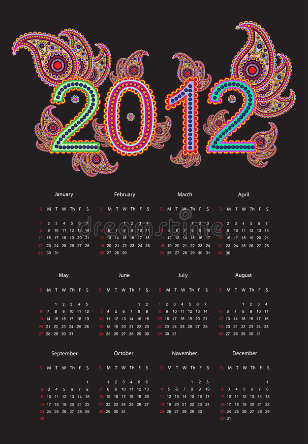 Download 2012 Calender stock illustration. Image of copy, layout - 21628886