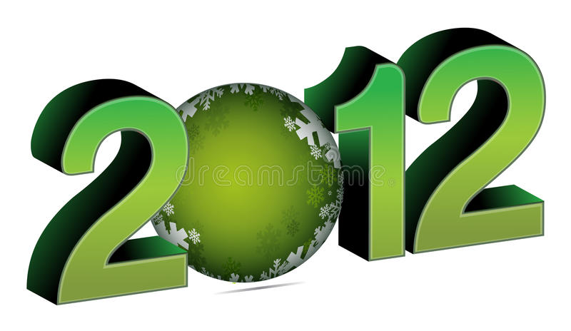 Download 2012 with christmas bauble stock vector. Image of green - 20929309