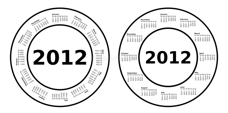 Download 2012 Circle Calendars Royalty Free Stock Images - Image: 22864259