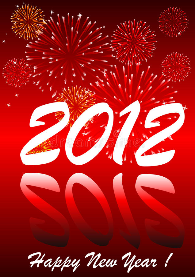 2012 con i fuochi d'artificio illustrazione vettoriale