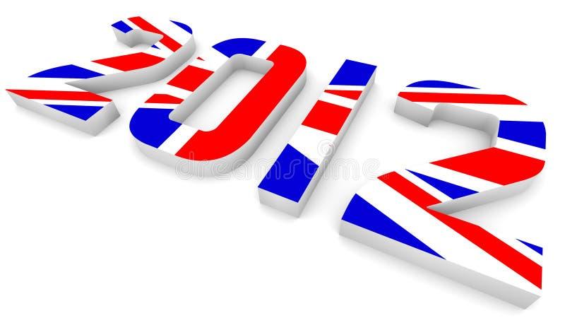 An 2012 dans l'indicateur britannique pour des Jeux Olympiques illustration libre de droits