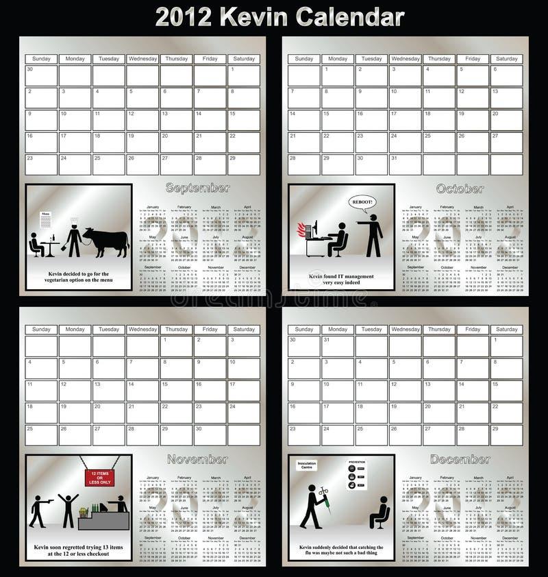 2012 de reekskalender van Kevin vector illustratie