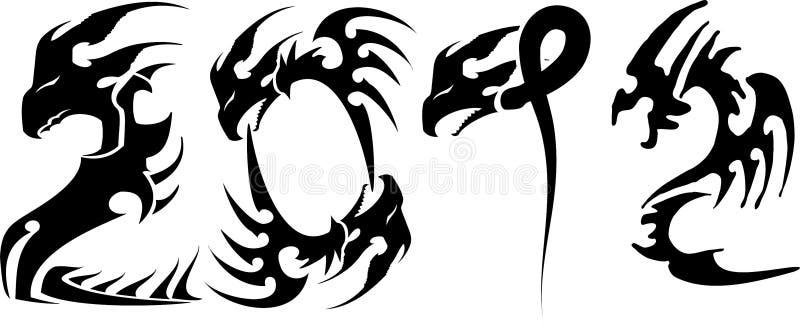 2012 Dragons. 2012 dragon style black on white royalty free illustration