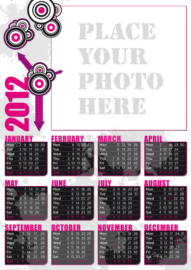 Download 2012 English Calendar With Photo Frame Stock Vector - Image: 22066190